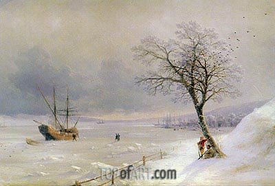 Frozen Bosphorus under Snow, 1874 | Aivazovsky | Painting Reproduction