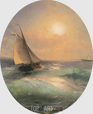 A Sailing Barge at Sunset Flying the Russian Tricolour, 1883 | Aivazovsky | Painting Reproduction