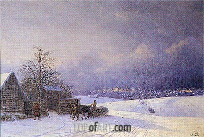 Moscow in Winter from the Sparrow Hills, 1875 | Aivazovsky | Gemälde Reproduktion