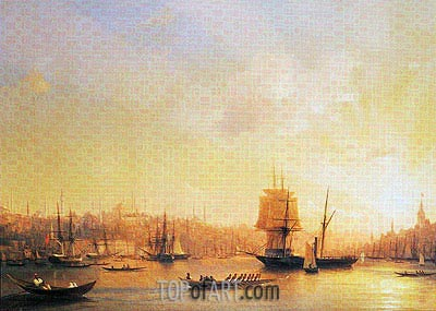 Dusk on the Golden Horn, 1845 | Aivazovsky | Gemälde Reproduktion