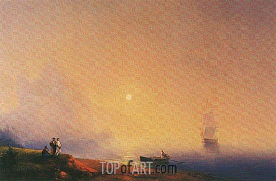 Crimean Tartars on the Sea Shore, 1850 | Aivazovsky | Gemälde Reproduktion