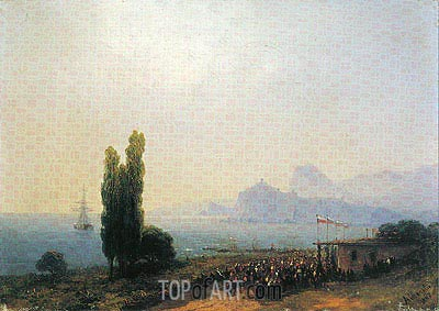 The Aivazovsky Estate at Sudak, an Imperial Welcome, 1867 | Aivazovsky| Painting Reproduction
