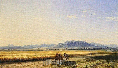Horse and Cart across a Georgian Wheatfield, 1868 | Aivazovsky | Gemälde Reproduktion