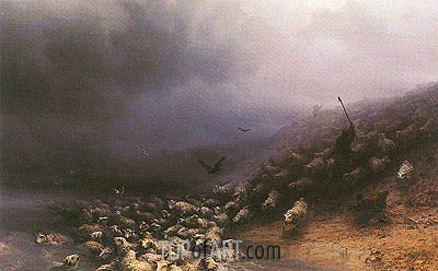 Stampede of Sheep into Water, 1861 | Aivazovsky | Painting Reproduction