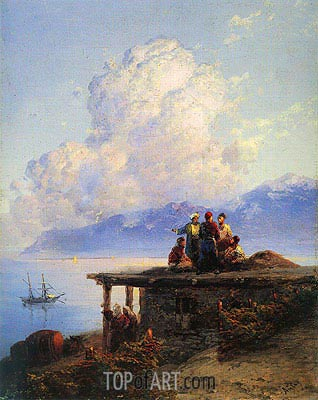 Turks Conversing by the Black Sea at Sunset, 1898 | Aivazovsky| Painting Reproduction