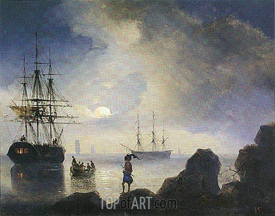 Moonlight off the Crimean Coast, 1836 | Aivazovsky | Painting Reproduction