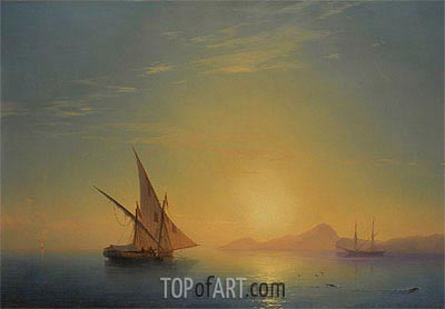 Sunset Over Ischia, 1857 | Aivazovsky | Painting Reproduction