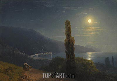 Crimean Coast in Moonlight, 1859 | Aivazovsky | Painting Reproduction