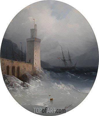 View of the Amalfi Coast, 1865 | Aivazovsky | Painting Reproduction