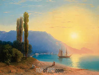 Sunset over Yalta, 1861 | Aivazovsky | Painting Reproduction