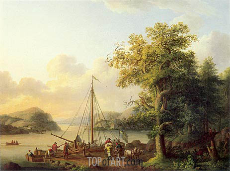 A River Landscape with Figures Loading a Small Sailing Boat, 1793 | Philippe Hackert | Painting Reproduction
