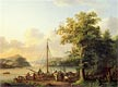 A River Landscape with Figures Loading a Small Sailing Boat   Jacob Philippe Hackert
