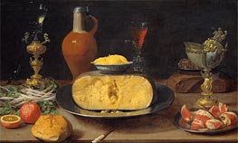 Breakfast Piece with Cheese and Goblets, Undated by  | Painting Reproduction