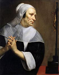 Old Woman Praying, undated by Jacob van Oost | Painting Reproduction