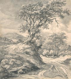 Dune Landscape with Oak Tree, c.1650/55 by Ruisdael | Painting Reproduction