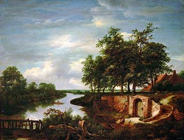 River Landscape and Entrance to a Cellar, 1649 by Ruisdael | Painting Reproduction