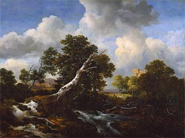 Landscape with a Dead Tree, c.1660/70 by Ruisdael | Painting Reproduction