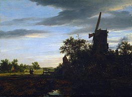 A Windmill near Fields, 1646 by Ruisdael | Painting Reproduction