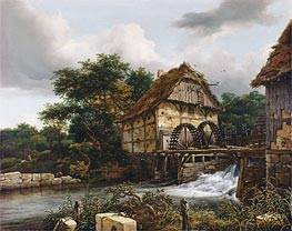 Two Watermills and an Open Sluice | Ruisdael | Gemälde Reproduktion
