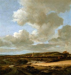 Landscape with Cornfield, c.1660/69 by Ruisdael | Painting Reproduction