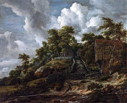 Wooded Hillside with a View of Bentheim Castle | Ruisdael | veraltet
