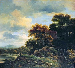 Landscape with Wooded Hillock , undated by Ruisdael | Painting Reproduction