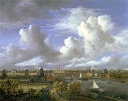View on the Amstel Looking Towards Amsterdam, c.1675/70 by Ruisdael | Painting Reproduction