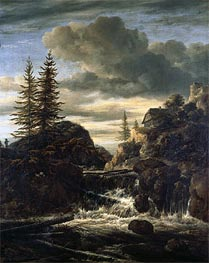 A Norwegian Landscape with a Cascade Waterfall, undated by Ruisdael | Painting Reproduction