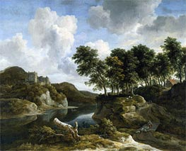 River Landscape with a Castle on a High Cliff, c.1670 by Ruisdael | Painting Reproduction