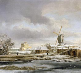 A Winter Landscape with a Frozen Canal and a Windmill, undated by Ruisdael | Painting Reproduction