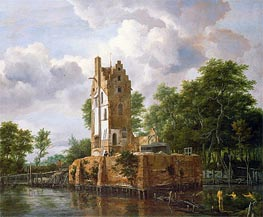 View of Kostverloren Castle on the Amstel | Ruisdael | Gemälde Reproduktion