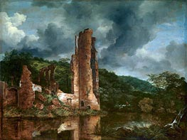 Landscape with the Ruins of the Castle of Egmond, c.1650/55 by Ruisdael | Painting Reproduction