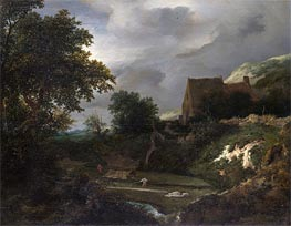 A Bleaching Ground in a Hollow by a Cottage | Ruisdael | Gemälde Reproduktion
