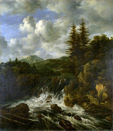 A Landscape with a Waterfall and a Castle on a Hill | Ruisdael | Gemälde Reproduktion