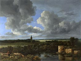 A Landscape with a Ruined Castle and a Church, c.1665/70 by Ruisdael | Painting Reproduction
