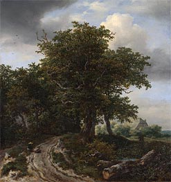 A Road Winding between Trees towards a Distant Cottage, c.1645/50 by Ruisdael | Painting Reproduction