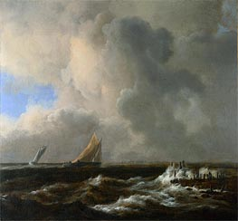 Vessels in a Fresh Breeze, c.1660/65 by Ruisdael | Painting Reproduction