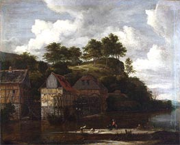 Three Watermills with Washerwomen, c.1670 by Ruisdael | Painting Reproduction