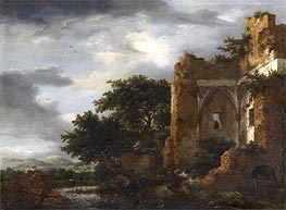 Ruins in a Dune Landscape, c.1650/55 by Ruisdael | Painting Reproduction