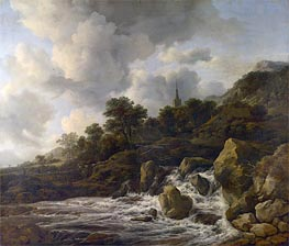 A Waterfall at the Foot of a Hill near a Village | Ruisdael | veraltet
