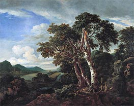 Three Great Trees in a Mountainous Landscape with a River, c.1665/70 by Ruisdael | Painting Reproduction