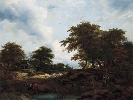 Woody Landscape with a Pool and Figures, c.1660 by Ruisdael | Painting Reproduction