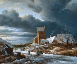 Winter Landscape, 1682 by Ruisdael | Painting Reproduction