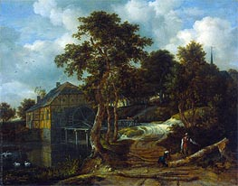 Landscape with Watermill, 1661 by Ruisdael | Painting Reproduction