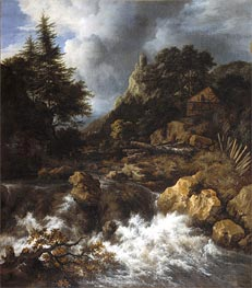 Waterfall with a Half-Timbered House and Castle | Ruisdael | Gemälde Reproduktion