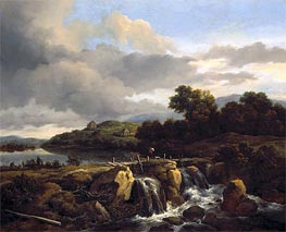 Landscape with Cascade, c.1670/75 by Ruisdael | Painting Reproduction