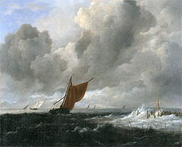 Stormy Sea with Sailing Vessels, c.1668 by Ruisdael | Painting Reproduction