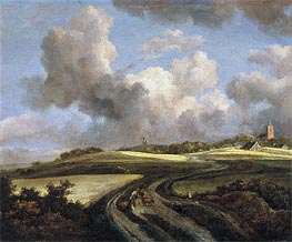 Road through Fields of Corn near the Zuider Zee, c.1660/62 by Ruisdael | Painting Reproduction