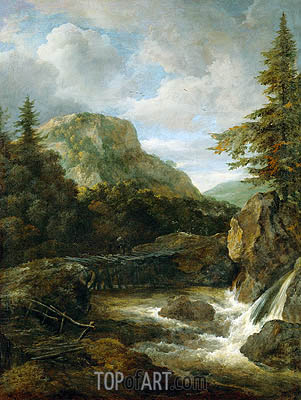 Mountain Landscape with Waterfall, c.1670/80 | Ruisdael | Painting Reproduction