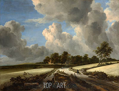 Wheat Fields, c.1670 | Ruisdael | Painting Reproduction